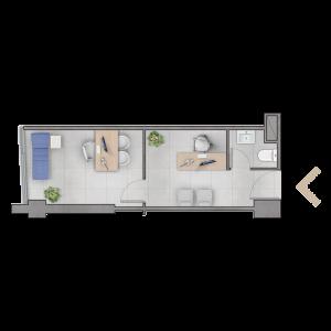 Planta C 23,33 m2